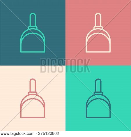 Pop Art Line Dustpan Icon Isolated On Color Background. Cleaning Scoop Services. Vector Illustration