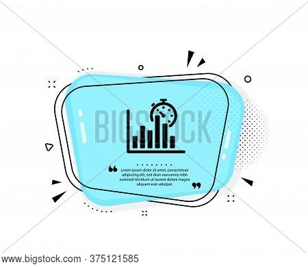 Report Timer Icon. Quote Speech Bubble. Column Graph Sign. Growth Diagram Chart Symbol. Quotation Ma