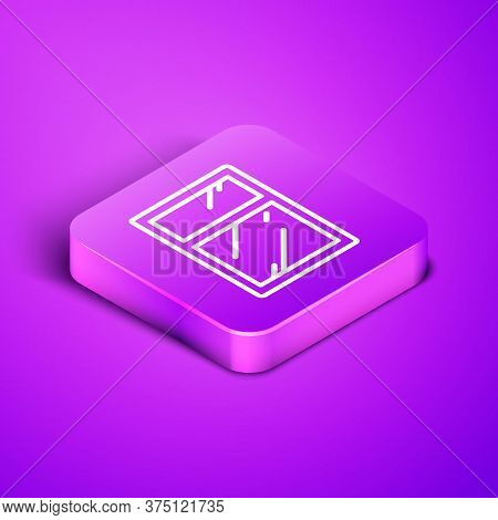 Isometric Line Cleaning Service For Windows Icon Isolated On Purple Background. Squeegee, Scraper, W