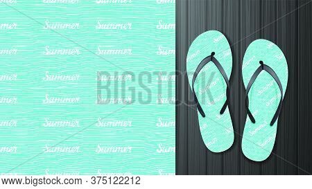 Summer Blue Seamless Pattern With Abstract Waves And Lettering. Pattern Design For Printing On Flip-