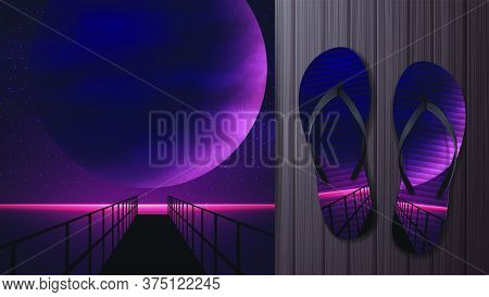 Summer Background With Marine Purple Space Landscape With A Large Planet, Starry Sky And Wooden Pier