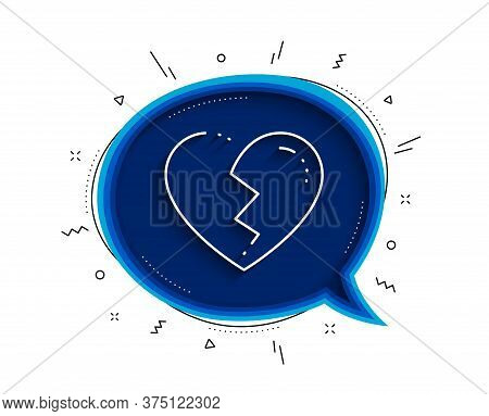 Broken Heart Line Icon. Chat Bubble With Shadow. Love Crush Sign. Divorce Symbol. Thin Line Broken H