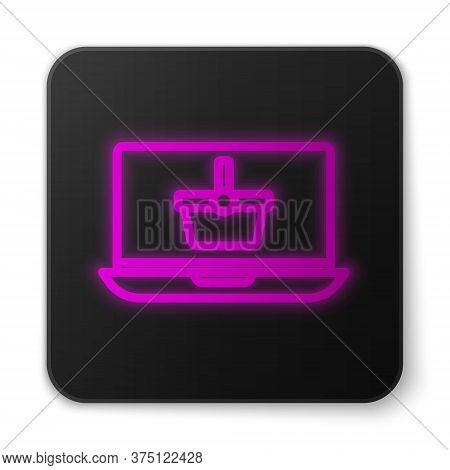 Glowing Neon Line Shopping Basket On Screen Laptop Icon Isolated On White Background. Concept E-comm