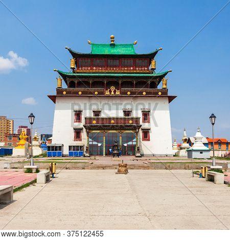 The Gandantegchinlen Or Gandan Monastery Is A Chinese Style Tibetan Buddhist Monastery In The Mongol
