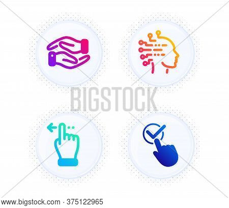Helping Hand, Artificial Intelligence And Touchscreen Gesture Icons Simple Set. Button With Halftone