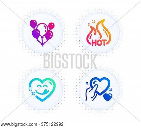 Yummy Smile, Balloons And Hot Sale Icons Simple Set. Button With Halftone Dots. Hold Heart Sign. Com