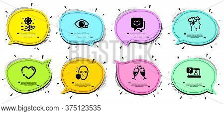 Mindfulness Stress, Employee Hand And Face Protection Signs. Chat Bubbles With Quotes. Myopia, Champ