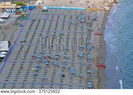 Vietri Sul Mare, Italy - June 27, 2014: Afternoon At Big Sandy Beach Vietri Sul Mare Near Salerno, I