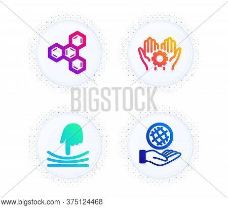 Elastic, Chemical Formula And Employee Hand Icons Simple Set. Button With Halftone Dots. Safe Planet