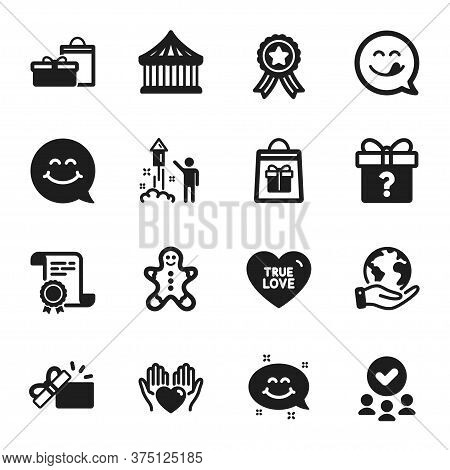 Set Of Holidays Icons, Such As Secret Gift, Holidays Shopping. Certificate, Approved Group, Save Pla