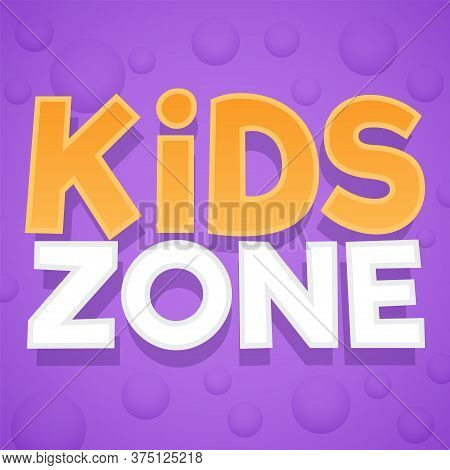 Kids Zone. Colorful Playing Park, Playroom Or Game Area Logo. Playground For Children Purple Emblem