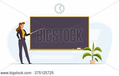 Teacher In Classroom Near Chalkboard Conduct Lesson. Cartoon Flat Women With Pointer Teaching, Young