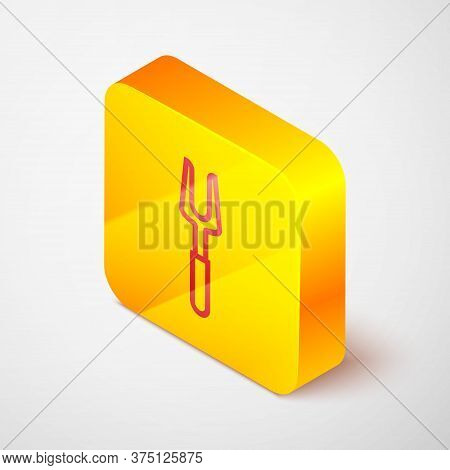 Isometric Line Barbecue Fork Icon Isolated On Grey Background. Bbq Fork Sign. Barbecue And Grill Too