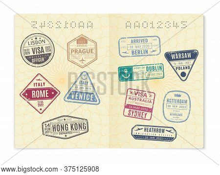 Passport Page With Visa Stamps. Realistic Open Foreign International Identification Document With Ma