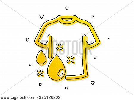 Laundry Shirt Sign. Wash T-shirt Icon. Clothing Cleaner Symbol. Yellow Circles Pattern. Classic Wash