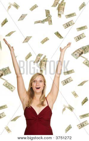 Pretty Blond Winning Money