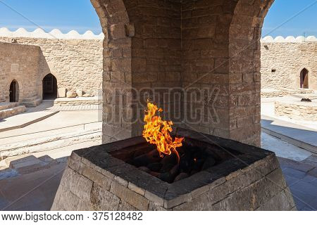 The Baku Ateshgah Or Fire Temple Of Baku Is A Temple In Surakhani Near Baku, Azerbaijan. Based On Pe