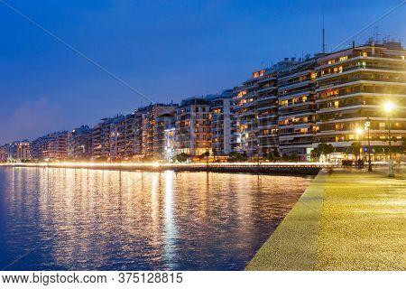 Thessaloniki Seafront Promenade At Night, Central Macedonia, Greece