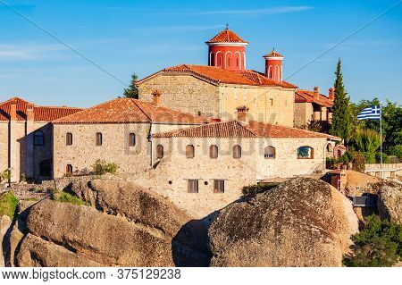 The Monastery Of St. Stephen At The Meteora. Meteora Is One Of The Largest And Most Precipitously Bu