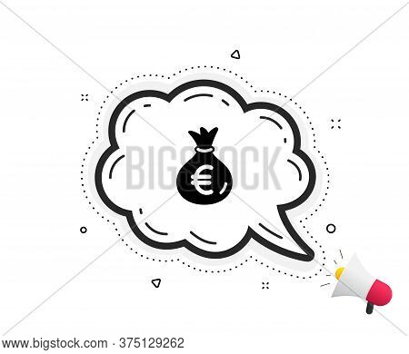 Money Bag Icon. Quote Speech Bubble. Cash Banking Currency Sign. Euro Or Eur Symbol. Quotation Marks