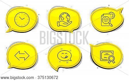 Yummy Smile Sign. Diploma Certificate, Save Planet Chat Bubbles. Seo Stats, Sync And Time Line Icons