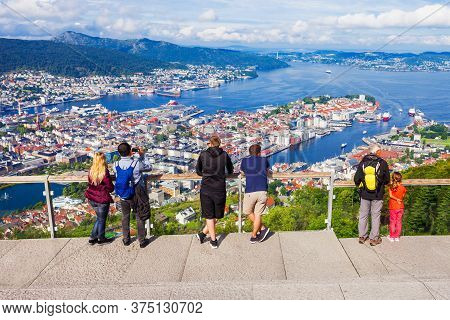 Mount Floyen Viewpoint In Bergen. Bergen Is A City And Municipality In Hordaland, Norway.