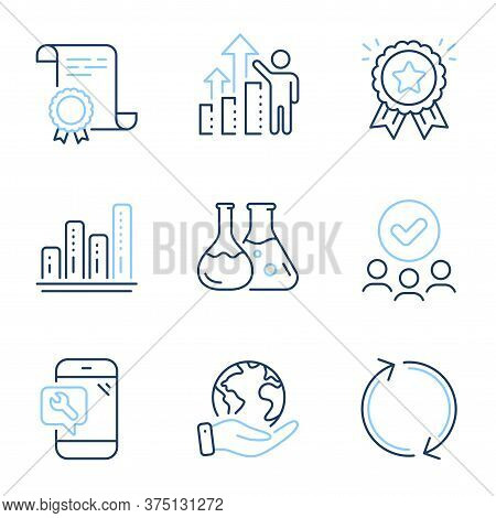 Graph Chart, Employee Results And Phone Repair Line Icons Set. Diploma Certificate, Save Planet, Gro