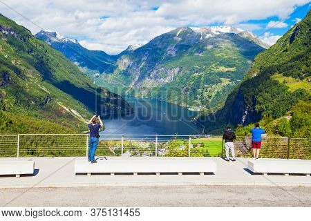 Flydalsjuvet Viewpoint With Geirangerfjord And Geiranger Village Aerial View, Norway