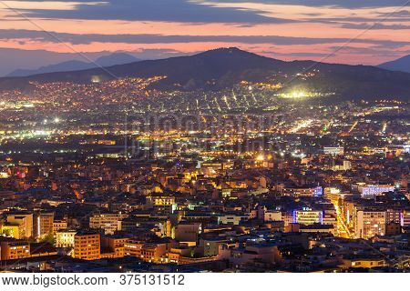 Athens Aerial Panoramic View From The Mount Lycabettus In Athens, Greece At Night