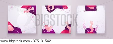 Set Of Creative Minimalist Hand Drawn Abstract Background. Modern Fluid Abstract Shapes In Contempor