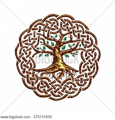 Celtic Tree Of Life With Green Leaves