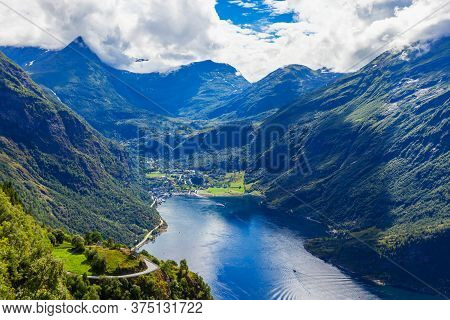 Geirangerfjord Aerial Panoramic View From Ornesvingen Eagle Road Viewpoint, Located Near The Geirang