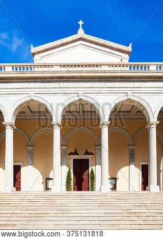 The Cathedral Basilica Of St. Dionysius The Areopagite Is The Main Roman Catholic Church Of Athens,