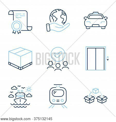 Parcel Shipping, Lift And Train Line Icons Set. Diploma Certificate, Save Planet, Group Of People. S