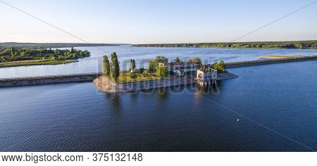 Aerial View To Old Abandomed Pumping Station On Dam At Severskiy Donets River, Pechenegi Reservoir,