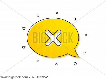 Decline Or Remove Chat Sign. Reject Message Icon. Yellow Circles Pattern. Classic Reject Icon. Geome