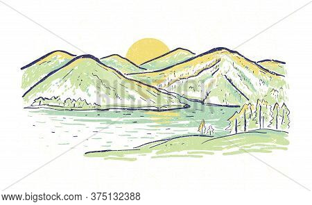 Horizontal Landscape Vector Sketch Color  Illustration With Mountains And Lake At Sunset. Summer Rom