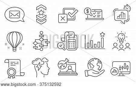 Set Of Education Icons, Such As Block Diagram, Online Chemistry. Diploma, Ideas, Save Planet. Checkb