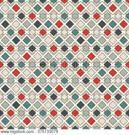 Repeated Diamonds And Lines Background. Geometric Motif. Seamless Surface Pattern With Retro Colors