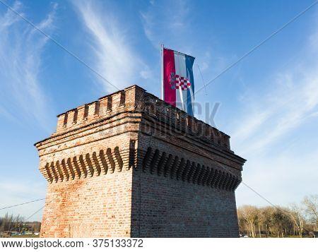 Osijek / Croatia - February 22, 2020: Bastion Of The Osijek Fortress With A Prominent Croatian Flag