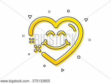 Happy Emoticon Chat Sign. Smile Face Icon. Heart Face Symbol. Yellow Circles Pattern. Classic Smile