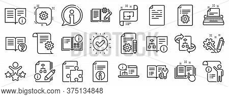 Set Of Instruction, Plan And Manual Icons. Technical Document Line Icons. Help Document, Building Pl