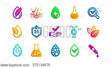 Dermatologically Tested, Paraben Chemical Formula Icons. No Artificial Colors, Anti-dandruff Flakes