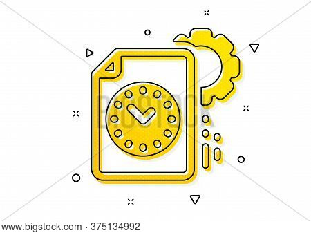 Time Management Sign. Project Deadline Icon. File With Gear Symbol. Yellow Circles Pattern. Classic