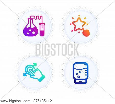 Chemistry Lab, Ranking Star And Touchscreen Gesture Icons Simple Set. Button With Halftone Dots. Wat