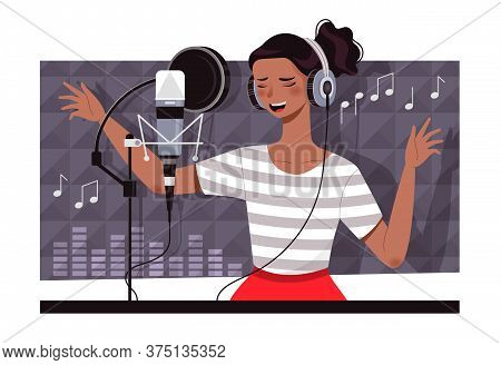 Young Woman Recording A Soundtrack In A Studio Singing In Front Of A Microphone With Music Notes, Co