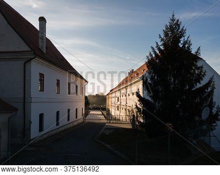 Osijek / Croatia - February 22, 2020: Jesuit Classical Gymnasium, Within The Walls Of The Osijek For