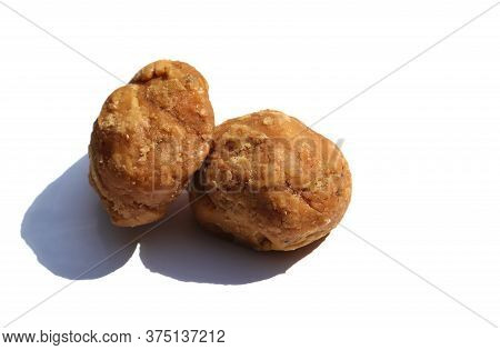 Sweet Palm Jaggery Isolated On White Background With Copy Space