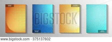 Tech Point Faded Screen Tone Cover Templates Vector Batch. Business Poster Perforated Screen Tone Ba