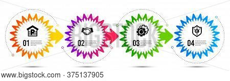 Handshake, Settings Gears And Parking Icons Simple Set. Timeline Steps Infographic. Copyright Protec